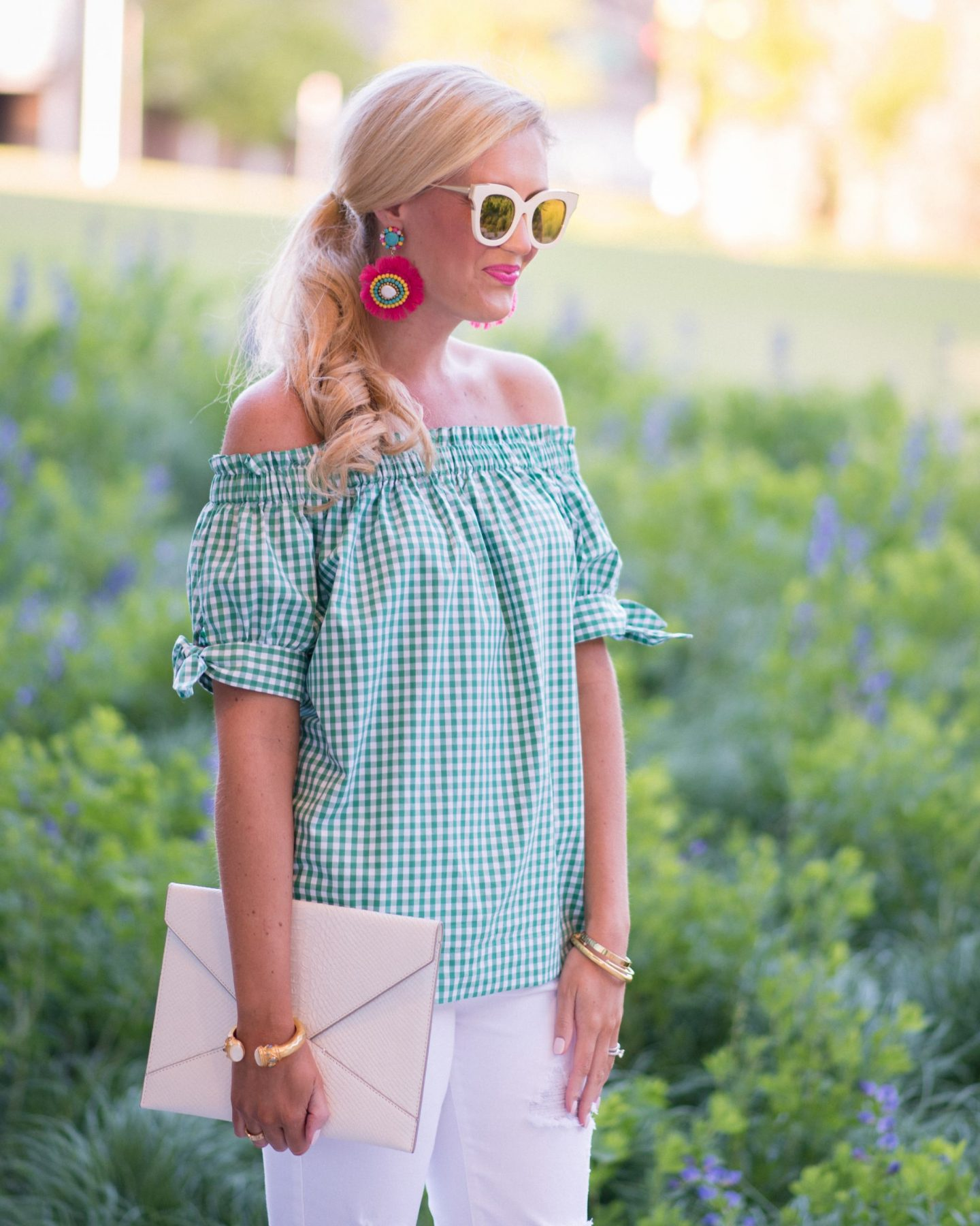 Green Gingham + Pops of Pink