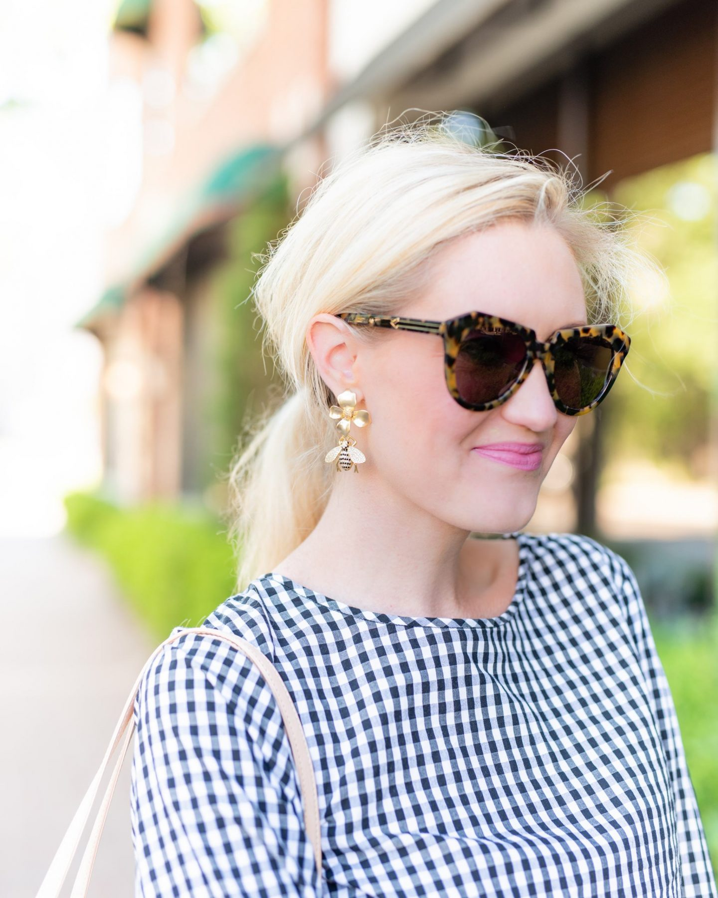 made by maddie bee earrings and Karen Walker No. 1 Tortoise sunglasses