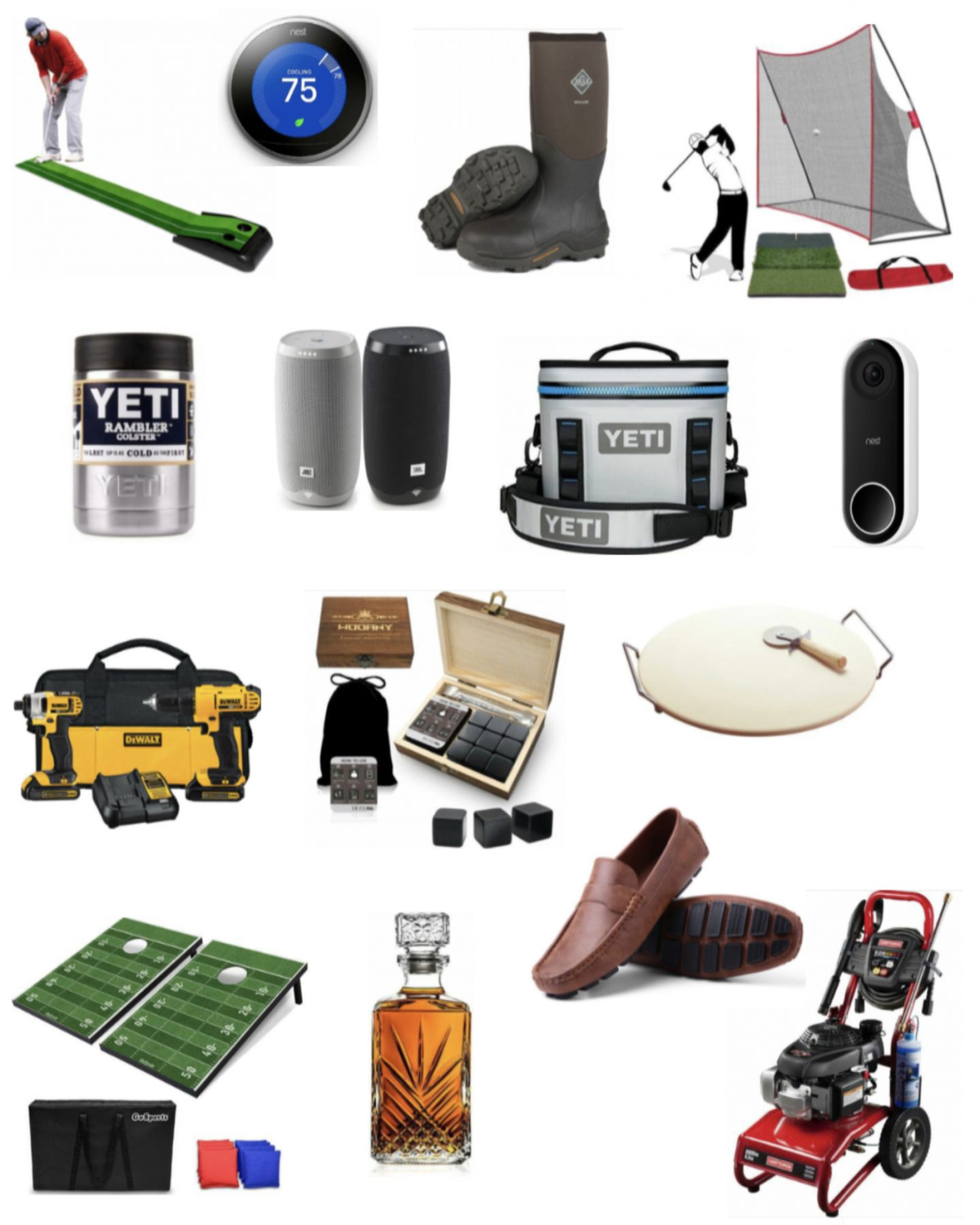 ebay father's day gifts / yeti cup/ bags game / decanter / mens shoes / pressure washer/ muck boots/ golf putting green /pizza stone / bose speakers / nest thermostat / nest camera / yeti cooler / whiskey stones / whiskey decanter