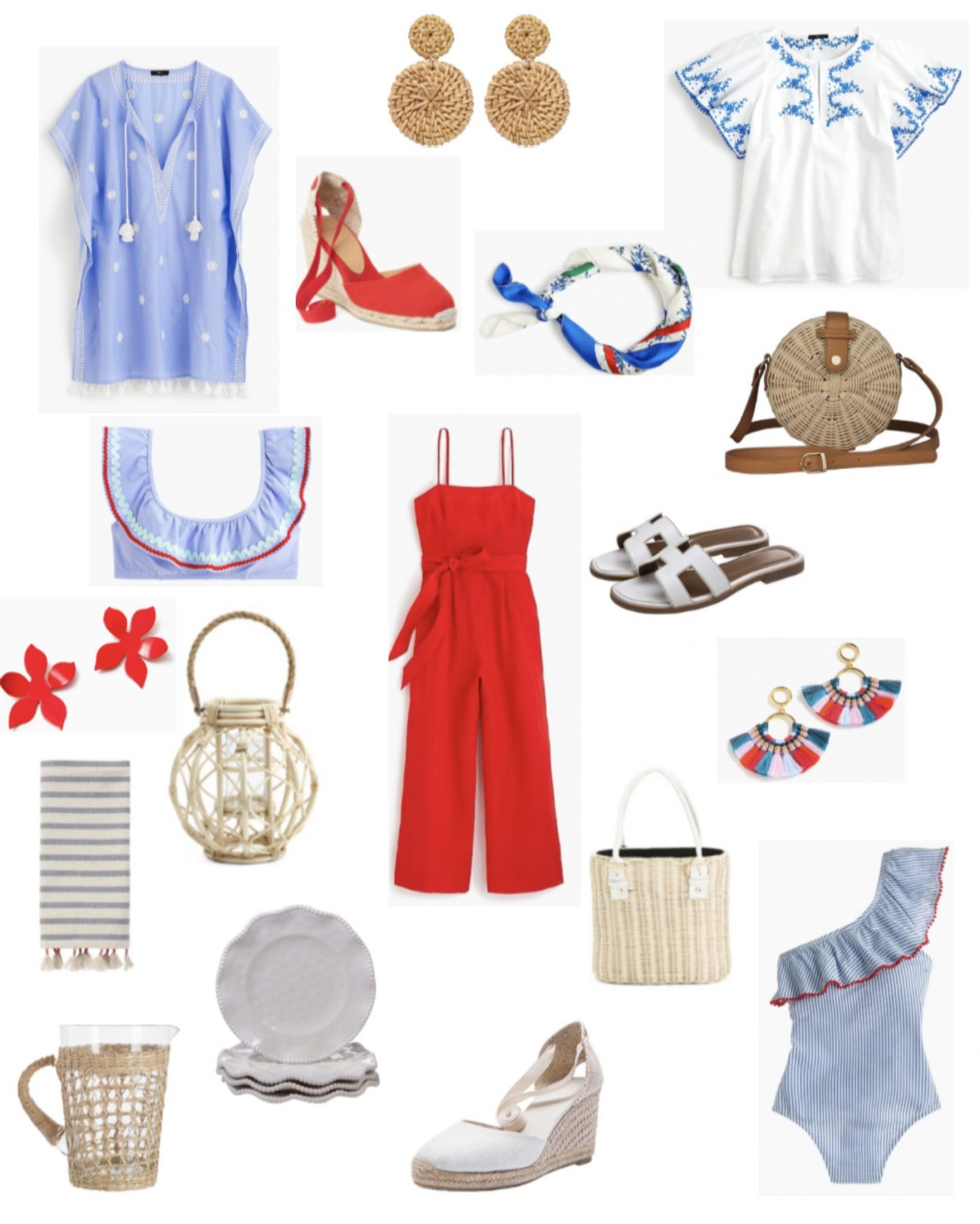 wicker earrings, blue tassel coverup, white embroidered top, red j.crew jumpsuit, pottery barn pitcher, white esapdrille wedges, white sandals, summer wicker bag, one piece swuimsuit, flower earrings, silk scarf, outdoor plates, tassel earrings, dish towel, outdoor entertaining