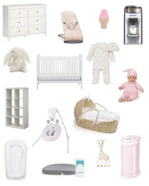 Walmart Baby Registry / Crib / Jellycat Bunny / Nursery Shelves / Baskets / Dock A Tot / Fisher Price Sing / Ubi Diaper Pale / Sophie the Giraffe / Corolle Doll / Dresser / moses basket / baby bjorn / baby breeza / nanit