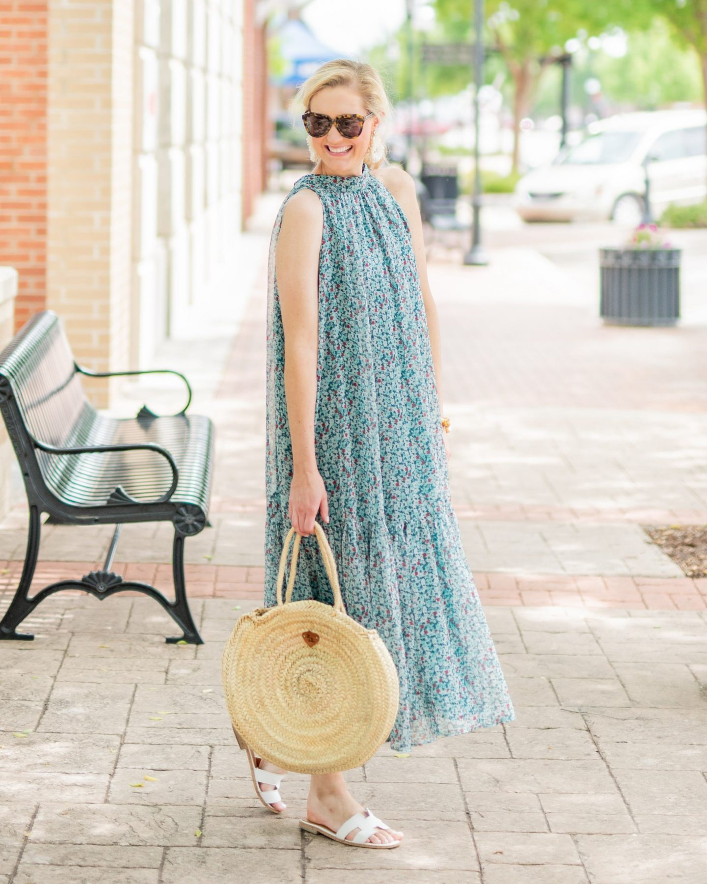 FLoral maxi dress with wicker bag