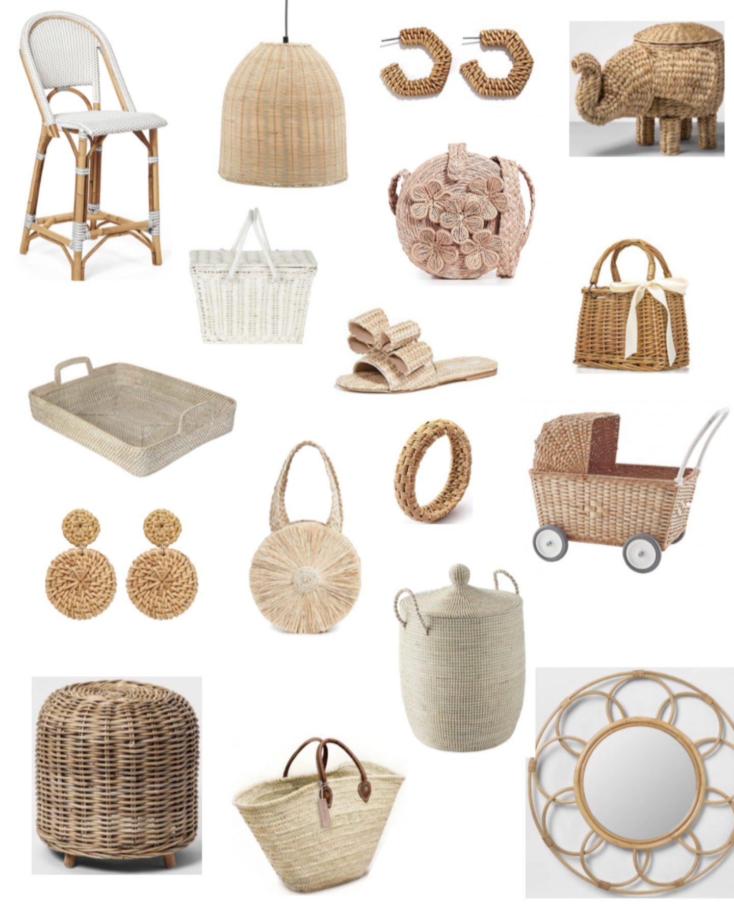 Rattan Chair, Rattan Earrings, Wicker bag, wicker purse, rattan mirror , Straw bags, Wicker earrings, Straw elephant, wicker baby carriage, wicker pram