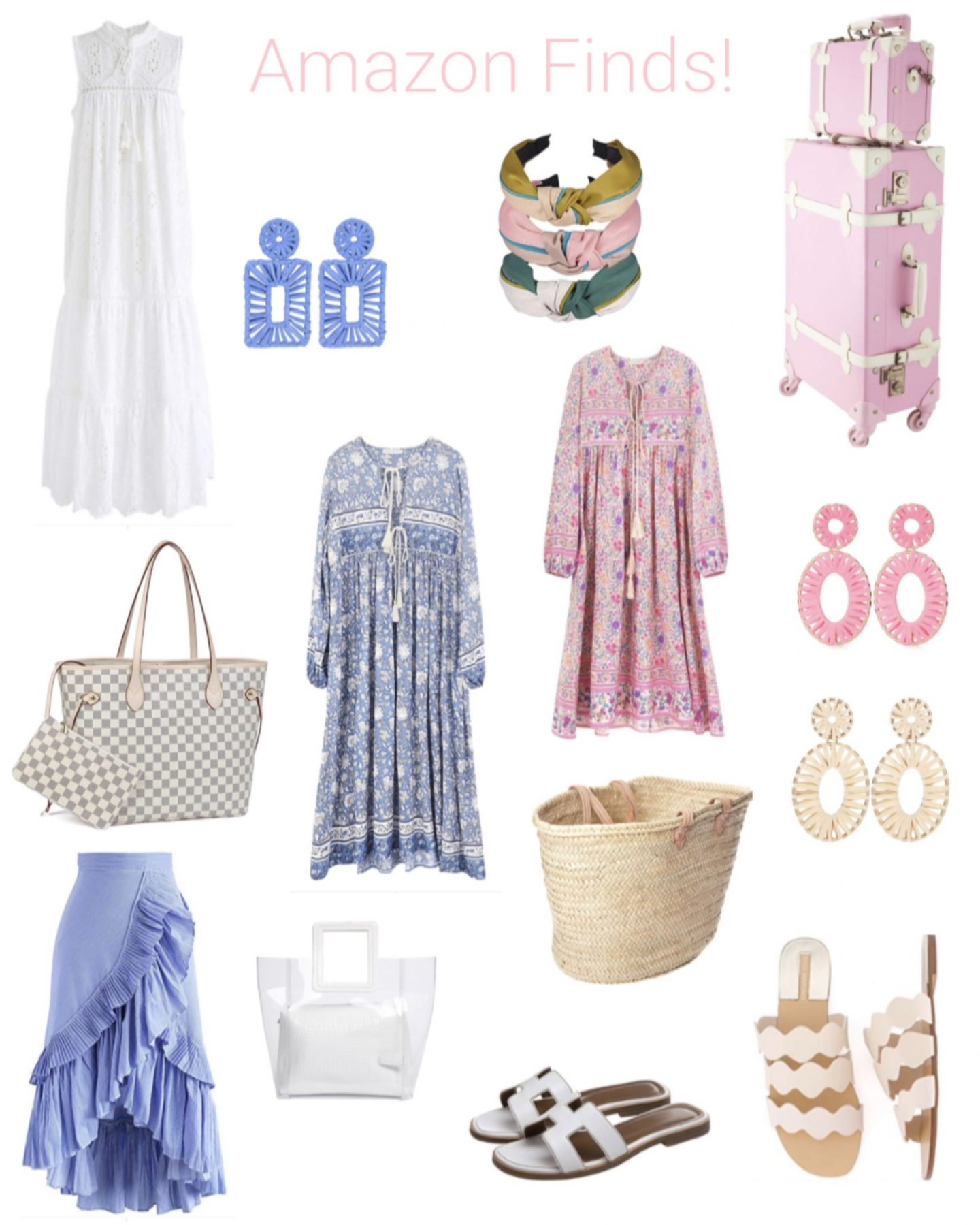 summer dress / travel luggage / summer bag / summer sandals